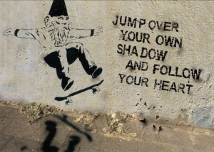 Jump Over Your Own Shadow and Follow Your Heart - Postcard