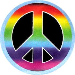 Peace Sign Rainbow On A Black Background Button
