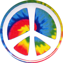 Peace Sign Over Tie Dye Swirl Button Pinback 1 5