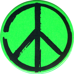 Peace Sign Artistic Black On Green Button Peace