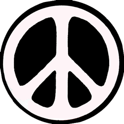 Peace Sign 60 S Style Black And White Button Pinback