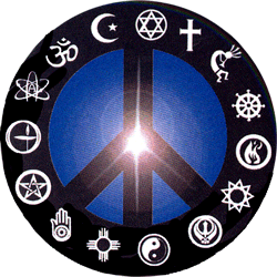Peace Sign With Religious Symbols Around The Outside