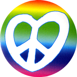 Peace Sign Heart Shaped On A Rainbow Background Button