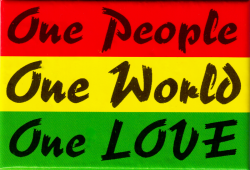 "One People, One World, One Love - Rectangular Magnet (3"" X 2"")"