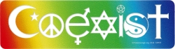 "Coexist in a Rainbow - Small Bumper Sticker / Decal (5.5"" X 1.5"")"