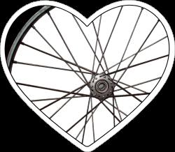 "Bike Wheel Heart - Small Bumper Sticker / Decal (4"" X 3.75"")"