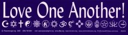 "Love One Another - Bumper Sticker / Decal (11"" X 3"")"