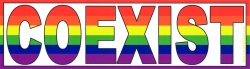"Rainbow Coexist - Bumper Sticker / Decal (10.75 X 3"")"