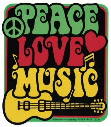 "Peace Love Music - Window Sticker / Decal (4"" X 4.5"")"