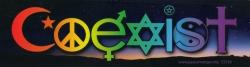 "Coexist Twilight Interfaith - Bumper Sticker / Decal (10.25"" X 3"")"