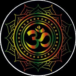 "Om Symbol With Lotus (Rasta Colors On Black) - Window Sticker / Decal (4.5"")"