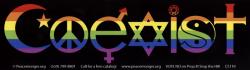 "Rainbow Coexist - Bumper Sticker / Decal (10.5"" X 3"")"