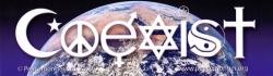 "Coexist Earth - Bumper Sticker / Decal (10.25"" X 3"")"