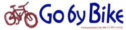 "Go By Bike - Small Bumper Sticker / Decal (5.5"" X 1.5"")"