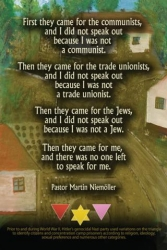 In Germany I Didn't Speak Out - Postcard