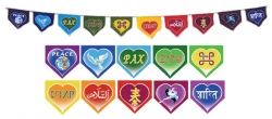 Peaceful Hearts Rainbow Flag String