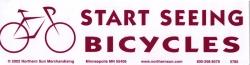 "Start Seeing Bicycles - Bumper Sticker / Decal (11.25"" X 3"")"