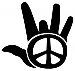 "Peace Hand (black) - Vinyl Cutout Sticker (4.75"" X 4.5"")"