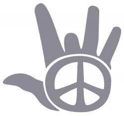 "Peace Hand (silver) - Vinyl Cutout Sticker (4.75"" X 4.5"")"