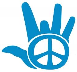 """Peace Hand (aqua) - Vinyl Cutout Sticker (4.75"""" X 4.5"""")"""