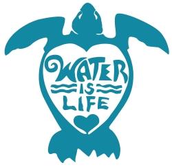 "Water Is Life Turtle (aqua) - Vinyl Cutout Sticker (5"" X 4.5"")"