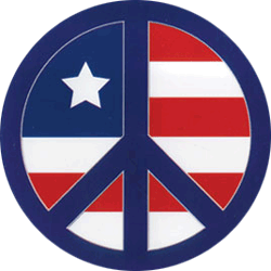 WA015 - Flag Peace Sign - Window Sticker