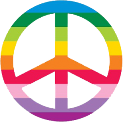 Rainbow Peace Sign (horizontal) - Window Sticker / Decal