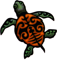 "Island Turtle - Window Sticker / Decal (4.5"" X 4.75"")"