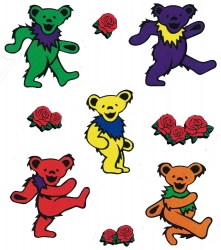 Grateful Dead Multi-Pack Mini Bears - Window Sticker / Decal (5 bears each 1.5""