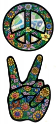 Peace Flowers (two sticker set) - Window Sticker / Decal