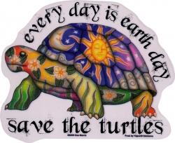 "Save the Turtles - Window Sticker / Decal (5.5"" x 4.4"")"