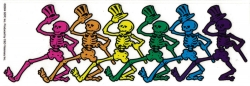 "Grateful Dead Dancing Skeletons - Window Sticker / Decal (8"" X 2.75"")"