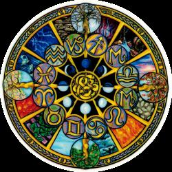 "Astrological Wheel - Window Sticker / Decal (4.5"" X 4.5"")"