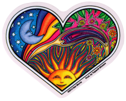 "Night and Day Heart - Window Sticker / Decal (4.5"" X 4"")"
