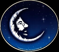 "Grateful Dead Jerry Garcia Moon - Window Sticker / Decal (5.25"" X 4.75"")"