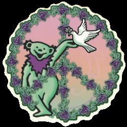 "Grateful Dead Dancing Bear Peace - Window Sticker / Decal (5.5"" Circular)"