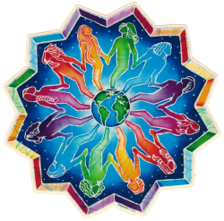 "People Encircling the Earth Mandala - Window Sticker / Decal (5"" X 5"")"