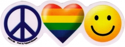 """Peace Pride Happiness - Window Sticker / Decal (5"""" x 2"""")"""