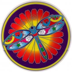 """Dragonfly Mandala - Window Sticker / Decal (5.5"""" Circular)"""
