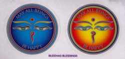 "Buddhas and Blessings - Window Sticker / Decal (2.25"" X 2.25"" each)"
