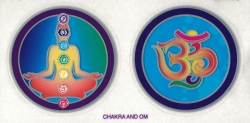 "Chakra and Om - Window Sticker / Decal (2.25"" X 2.25"" each)"