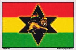 """Rasta Lion Flag - Window Sticker / Decal (5"""" X 3.25"""")"""