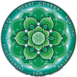 "Heart Chakra - Window Sticker / Decal (4.5"" Circular)"