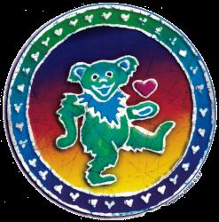 "Grateful Dead Dancing Bear Batik - Window Sticker / Decal (5.25"" Circular)"