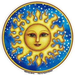 "Starry Sun - Window Sticker / Decal (4.5"" Circular)"