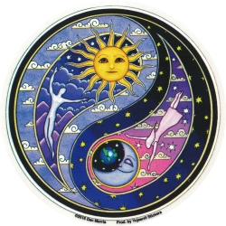 "Celestial Yin Yang - Window Sticker / Decal (4.5"" Circular)"