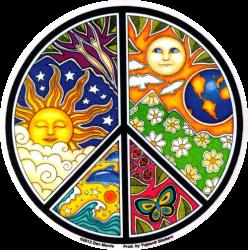 WA834 - Sun, Moon & Seasons Peace Sign - Window Sticker