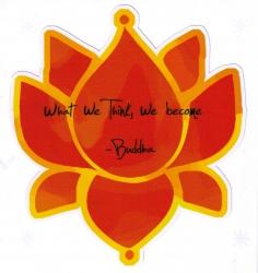 "What We Think, We Become - Buddha - Window Sticker / Decal (4"" X 4.5"")"