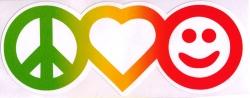 "Rasta Peace Love & Happiness - Window Sticker / Decal (6.5"" X 2.6"")"