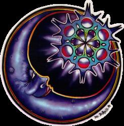 "Crescent Moon - Window Sticker / Decal (4.5"" Circular)"